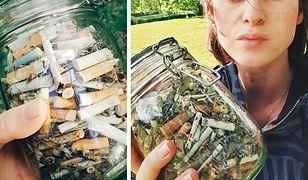 Paulina w Parku Szczęśliwickim zebrała słoik petów