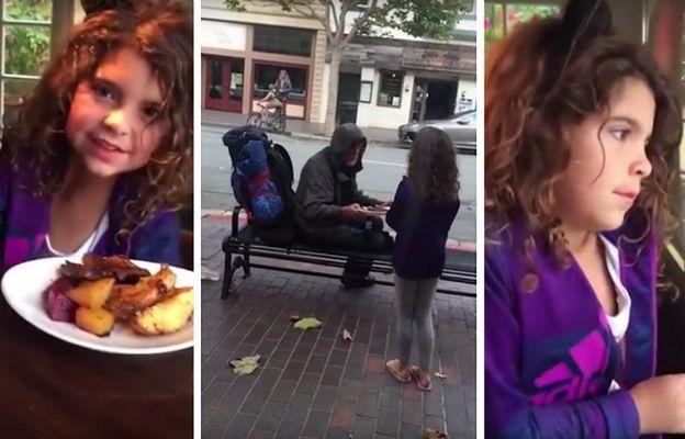 Wzruszający gest niesamowitej dziewczynki, która oddała swój posiłek bezdomnemu mężczyźnie
