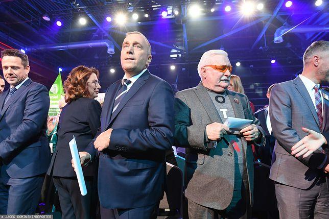 Wybory parlamentarne 2019. Lech Wałęsa i Grzegorz Schetyna, konwencja Koalicji Obywatelskiej w Warszawie.