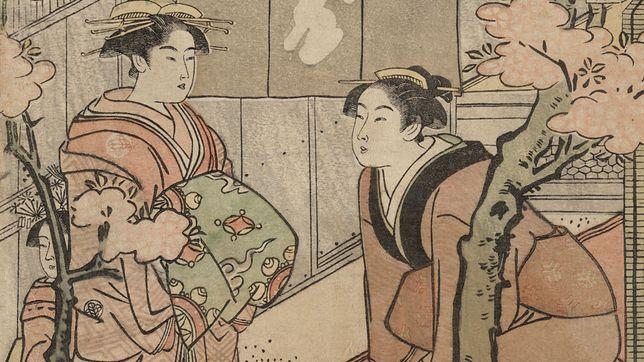 Hanami na barwionym drzeworycie z końca XVIII w.Hanami na barwionym drzeworycie z końca XVIII w.