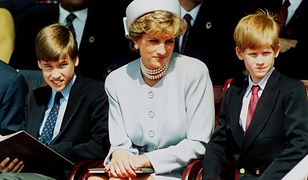 Princess Diana with Prince William and Harry at Heads Of State Service for VE Rememberance Day, held in Hyde Park. Half Length.