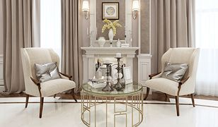 Świeczniki i lekkie stoliki kawowe to dodatki, które często można znaleźć w salonach w stylu glamour