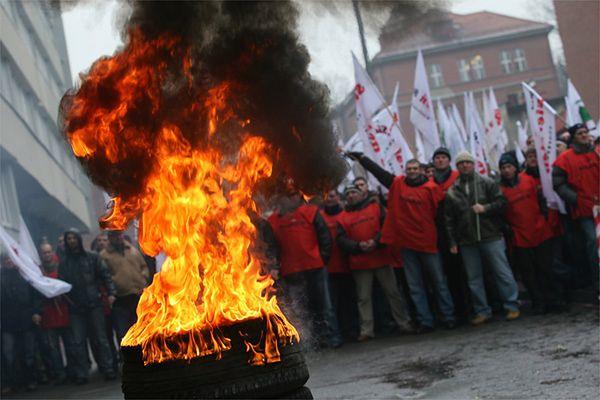 Protest związkowców z Katowickiego Holdingu Węglowego