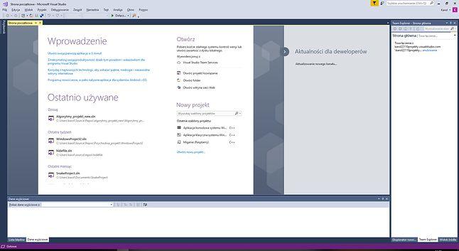 Główny ekran Visual Studio