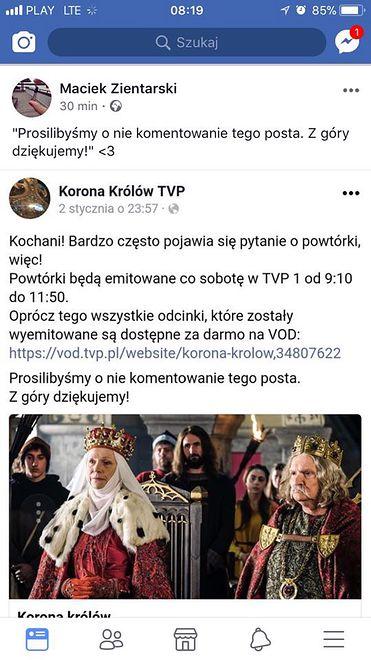 """Administratory """"Korony Królów"""" proszą o niekomentowanie postu"""