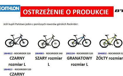 Decathlon apeluje od klientów o zwrot rowerów. Ramy mogą się złamać