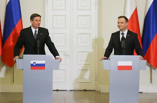 Prezydent Andrzej Duda i prezydent Słowenii Borut Pahor podczas konferencji prasowej po spotkaniu w Pałacu Prezydenckim