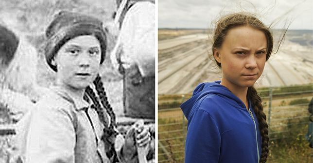 Greta Thunberg (a raczej ktoś łudząco do niej podobny) na zdjęciu z 1898 roku i obecnie