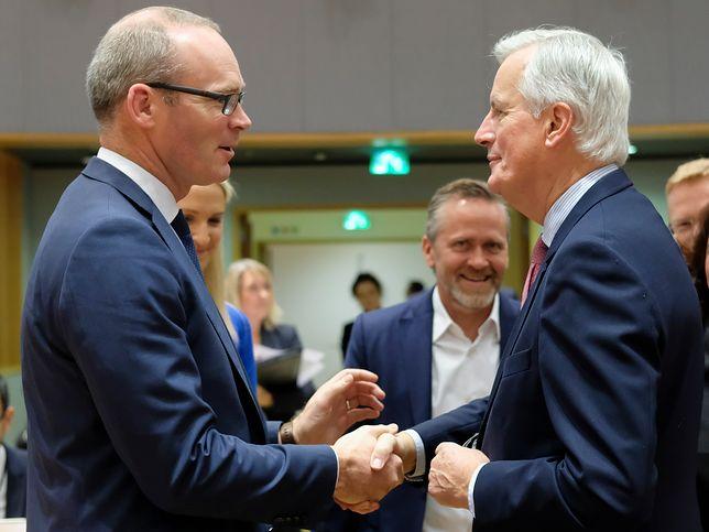 Brexit. Wicepremier Irlandii i szef irlandzkiego MSZ Simon Coveney (L) i główny negocjator ws. brexitu (ze strony KE) Michel Barnier (P)