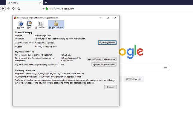 Informacje o bezpieczeństwie strony w Firefoksie 68 na przykładzie google.com.