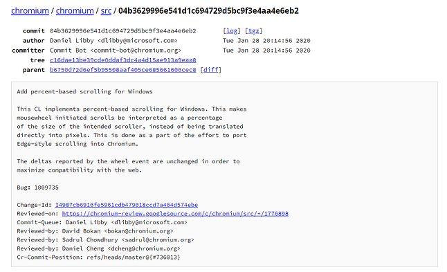 Szczegóły zmiany w kodzie Chromium, źródło: googlesource.com.