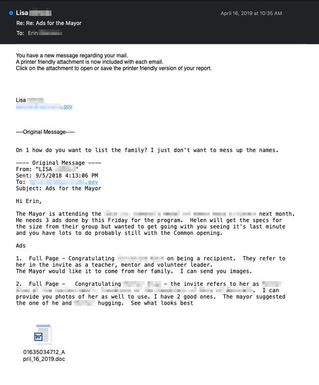 Przykładowy e-mail. Komputer Lisy został zainfekowany i rozsyła szkodliwy załącznik do uczestników rozmowy (Talos Group)