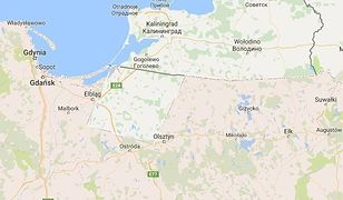 Mapa Polski wg. Google'a - na różowo zaznaczone jest terytorium Polski bez pokaźnej części Warmii i Mazur.