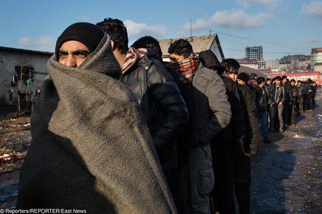 Uchodźcy z Syrii na tyłach dworca kolejowego w Belgradzie