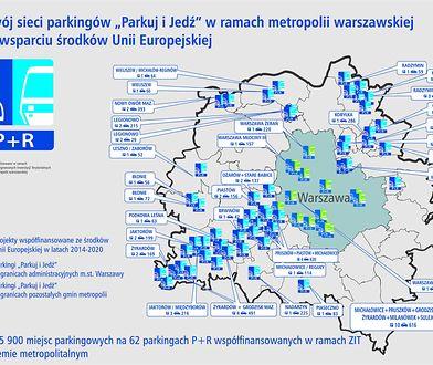 """Sieć parkingów """"Parkuj i Jedź"""" jest stale rozbudowywana w metropolii warszawskiej."""