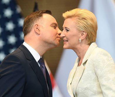 Prezydent Andrzej Duda z małżonką podczas spotkania z przedstawicielami Polonii amerykańskiej