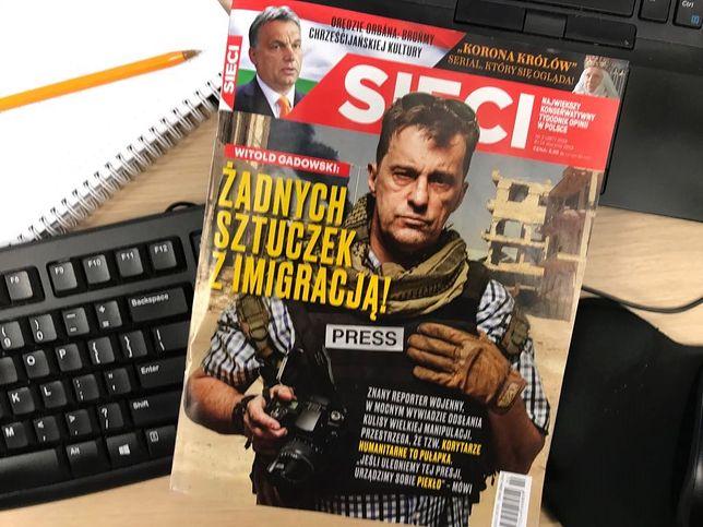 """Fotomontaż z Witoldem Gadowskim na okładce tygodnika """"Sieci"""""""