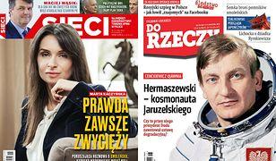 """Okładki tygodników: Kaczyńska, Cenckiewicz o gen. Hermaszewskim, """"Wprost"""" o knuciu Macierewicza"""
