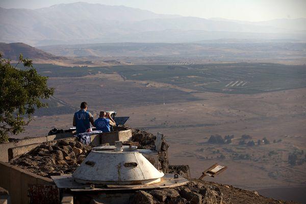 Wzgórza Golan przy granicy z Syrią