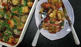 Pieczone ziemniaki z boczkiem i rydzami