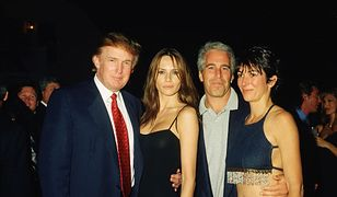 Ghislaine Maxwell na imprezie u boku Jeffreya Epsteina, Donalda Trumpa i jego ówczesnej dziewczyny, Melanii Knauss, 2000 r.
