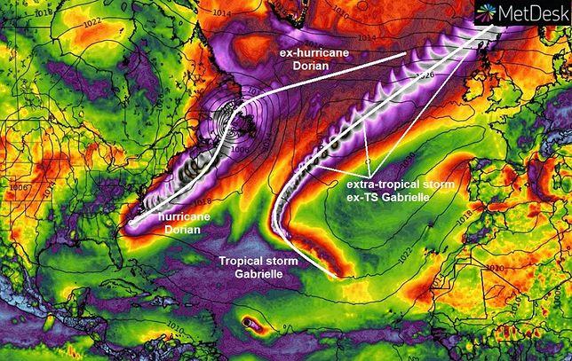 Pogoda. Huragan Dorian ma towarzystwo. To tropikalny cyklon Gabrielle, który zmierza do Europy.