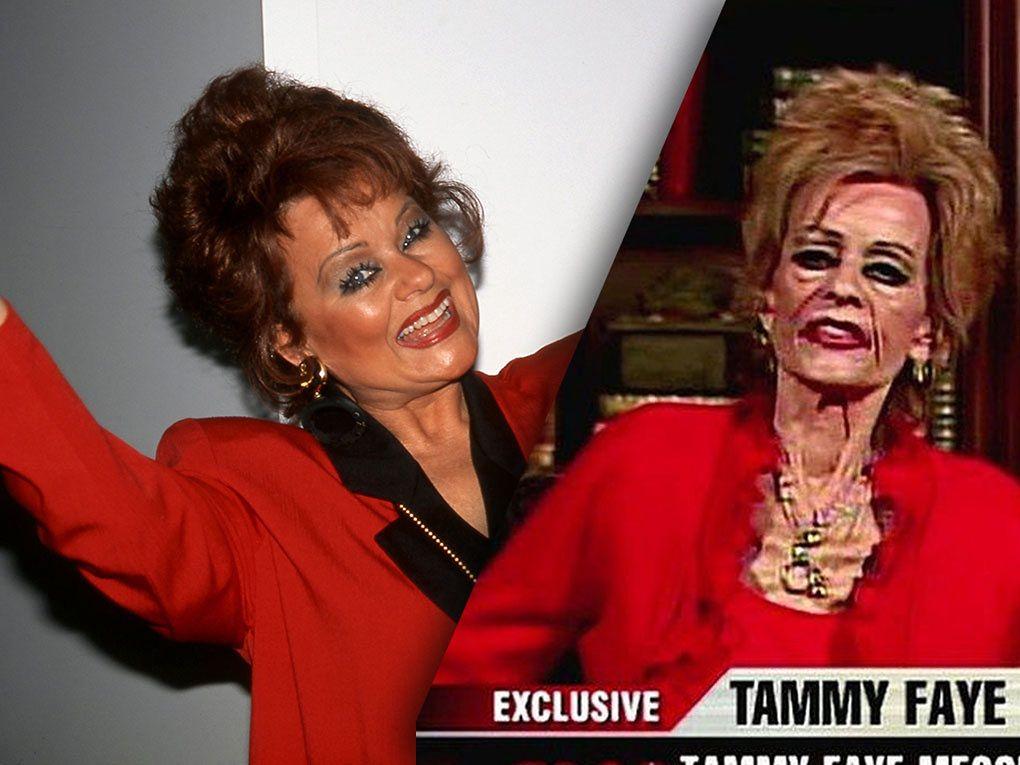 Tammy Faye podczas występu w Las Vegas w 1996 r. oraz 11 lat później, żegnając się z widzami