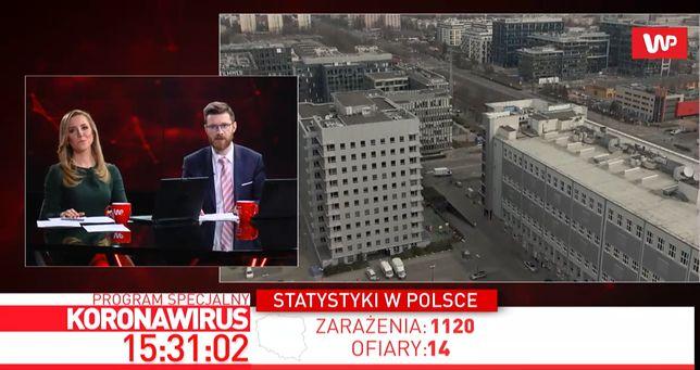 """Program specjalny WP """"Koronawirus"""", wydanie z 26 marca. Odcinek prowadzili Agnieszka Kopacz i Sebastian Ogórek"""