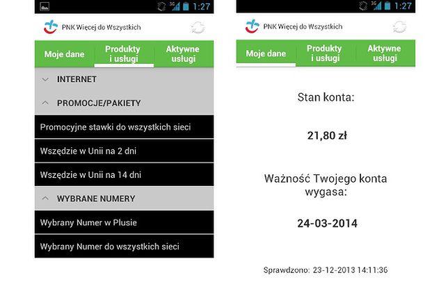 Aplikacja do zarządzania kontem w Plus na Androida