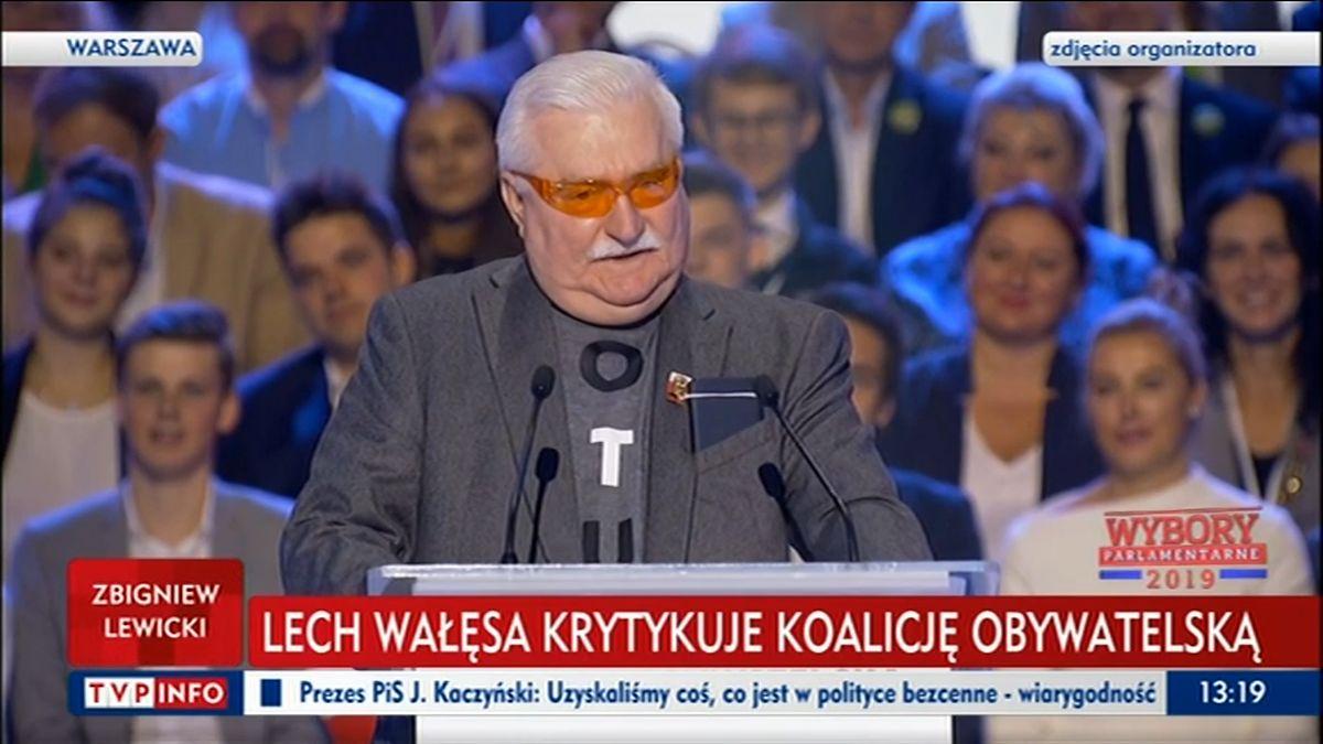 """Lech Wałęsa zdumiał zgromadzonych na konwencji KO. """"Nie słuchacie mnie!"""""""