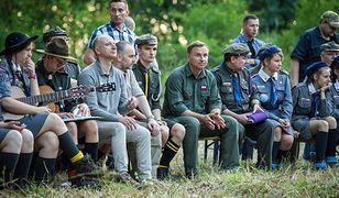 Prezydent Andrzej Duda podczas spotkania z harcerzami ZHR
