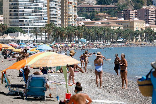 Plaża w Maladze, sierpień 2020