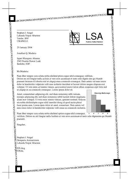 Strona testowa drukowana dla standardu ISO o pokryciu 5% czerni