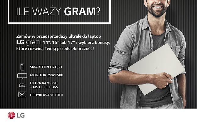 Laptopy LG Gram dostępne są w atrakcyjnych zestawach w ramach przedsprzedaży.