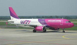 Samolot w brwach taniej linii Wizz Air.