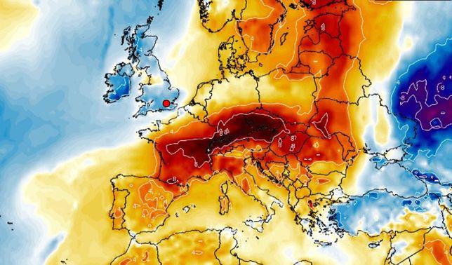 Pogoda w święta. Mapa anomalii temperatury (Wxcharts)
