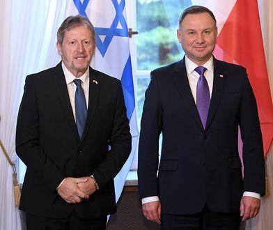 Ambasador Izraela w Polsce Alexander Ben-Zvi i prezydent Andrzej Duda
