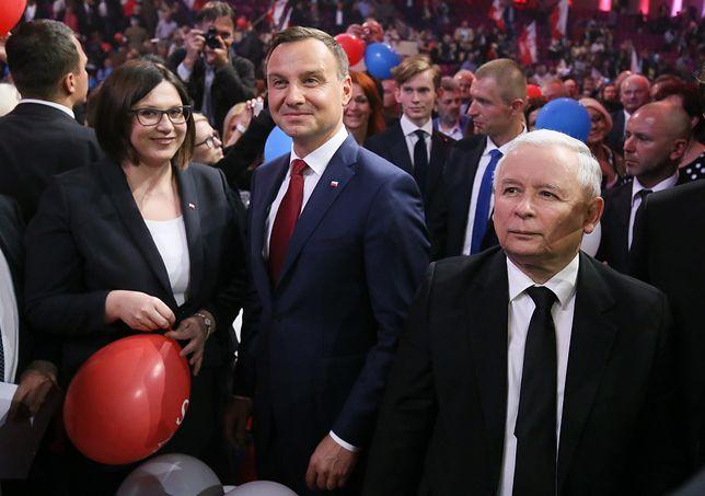 Małgorzata Sadurska, Andrzej Duda i Jarosław Kaczyński w czerwcu 2015 roku