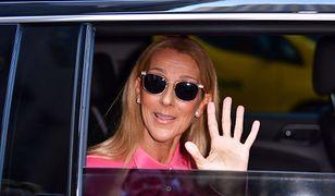 Celine Dion w neonowym garniturze oversize. Wygląda jak z wybiegu