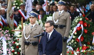 Premier Mateusz Morawiecki przemawia podczas pogrzebu Kornela Morawieckiego.
