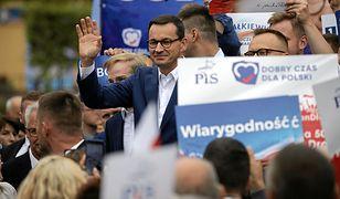 Premier Mateusz Morawiecki na spotkaniu przedwyborczym w Świdniku