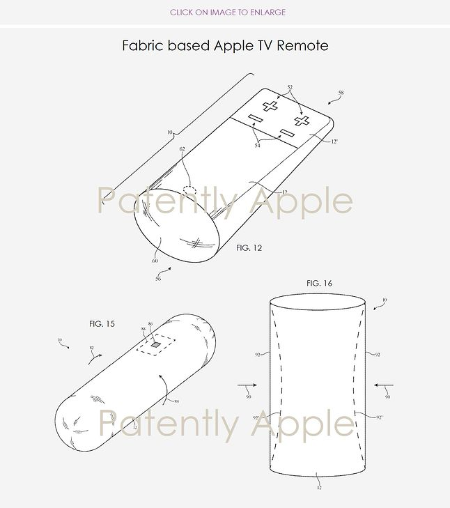 """Tak może wyglądać """"szmaciany"""" pilot do Apple TV / Patentlyapple.com"""
