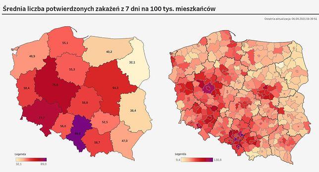 Koronawirus. Średnia liczba zakażeń z 7 dni na 100 tys. mieszkańców