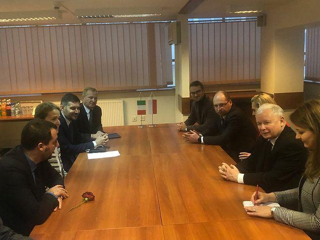 Spotkanie Matteo Salviniego i Jarosława Kaczyńskiego w siedzibie PiS