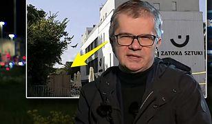 """Sylwester Latkowski pojawiał się na tle Zatoki Sztuki. Za plecami miał """"pomnik pedofila"""""""