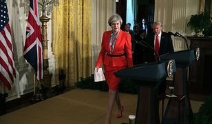 Theresa May na spotkaniu z Donaldem Trumpem