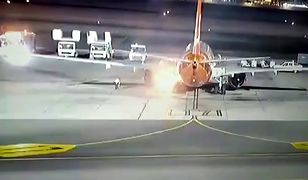 Samolot Boeing 737-800 zaczął płonąć na lotnisku [WIDEO]