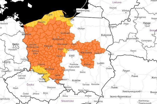 Mapa ostrzeżeń meteorologicznych IMGW (10.08.2020, godz: 8:25)