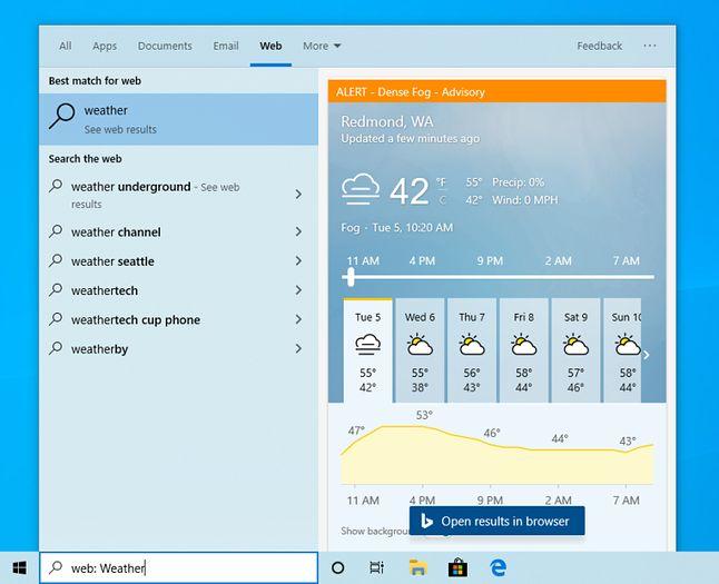 Informacje o pogodzie wśród wyników wyszukiwania w Windows 10 – jedna z nielicznych wizualnych zmian w tym wydaniu, fot. Blog Windows.