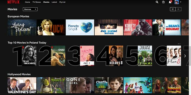Tak wygląda lista top 10 najchętniej oglądanych filmów w interfejsie platformy Netflix, fot. materiały własne